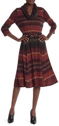 Robbie Bee Cowl Neck Printed Midi Dress