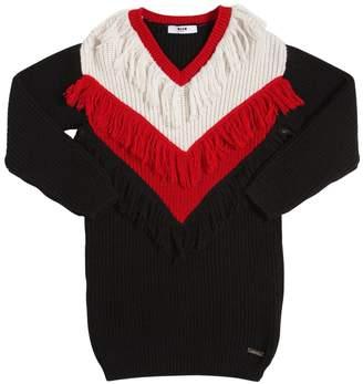 MSGM Fringed V Neck Knit Sweater Dress