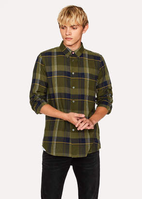 Paul Smith Men's Tailored-Fit Khaki Check Cotton Button-Down Shirt