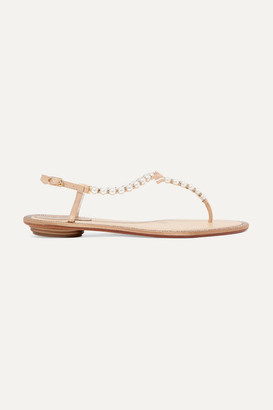 Rene Caovilla Crystal-embellished Leather Sandals - Off-white