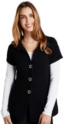 Yumi London - Black Button Up Cable Knit Cardigan