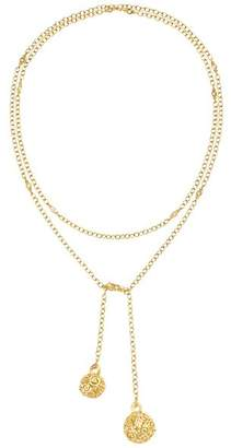 "Temple St. Clair 18K Yellow Gold Lattice Diamond & White Sapphire Lariat Necklace, 20"""