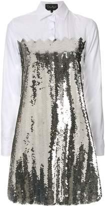 Dima Ayad contrast embellished shift dress