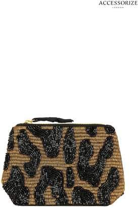 5c3b158ec Accessorize Womens Black Lola Leopard Coin Purse - Black