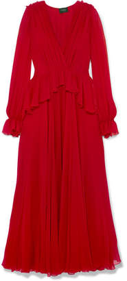 Giambattista Valli Ruffled Silk-georgette Gown - Red