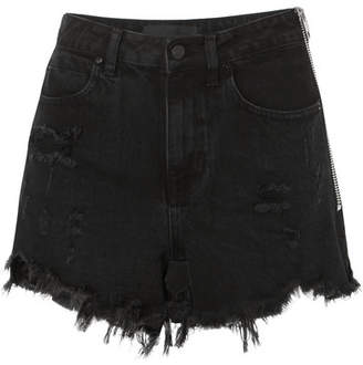 Bite Zip-detailed Frayed Denim Shorts - Black