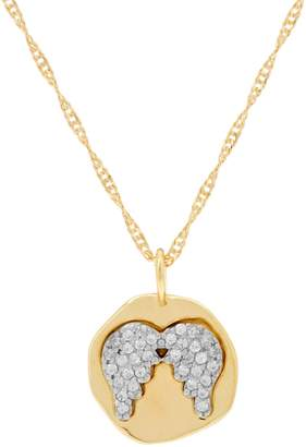 Diamonique Motif Pendant with Chain 14K Yellow Clad