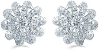 FINE JEWELRY 1/2 CT. T.W. Genuine White Diamond Sterling Silver 11.9mm Flower Stud Earrings