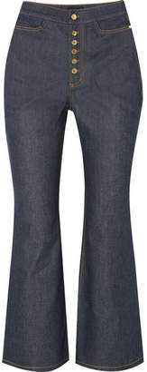 Ellery Pyramid Cropped High-rise Flared Jeans - Indigo
