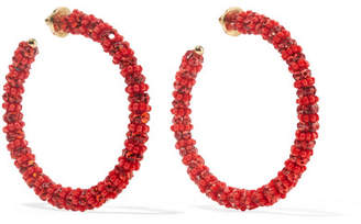 Oscar de la Renta Beaded Hoop Earrings - Red