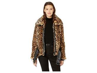 Blank NYC Leopard Faux Fur Jacket with Belt in Note To Self