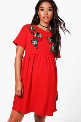 boohoo Maternity Embroidery Smock Dress