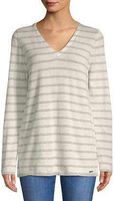 Calvin Klein Women's Two-Tone V-Neck Sweater