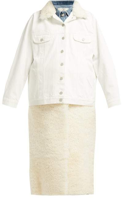Shearling And Denim Hybrid Coat - Womens - White