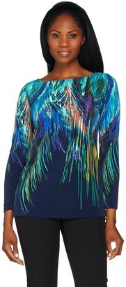 Susan Graver Printed Liquid Knit Long Sleeve Top