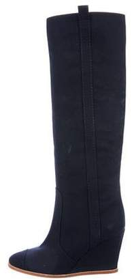 Chanel CC Wedge Knee-High Boots