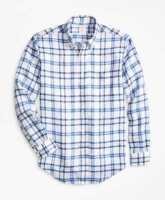 Brooks Brothers Madison Fit Tartan Irish Linen Sport Shirt