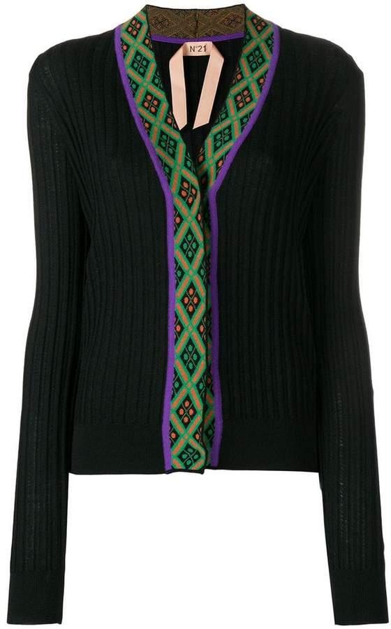 No21 printed trim rib knit cardigan
