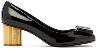 Salvatore Ferragamo Capua Flower Column Heel Patent Leather Pumps - Womens - Black