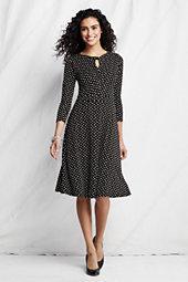 Lands' End Women's 3/4 Sleeve Matte Jersey Dress-White