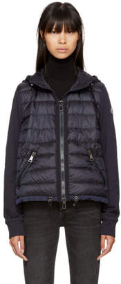 Moncler Navy Down French Terry Hooded Jacket