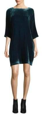 Velvet Bateau Neck Shift Dress
