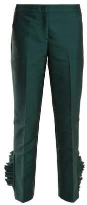 No.21 No. 21 - Ruffle Hem Cropped Trousers - Womens - Dark Green