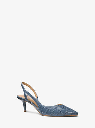 Michael Kors Eliza Flex Crocodile-Embossed Leather Pump