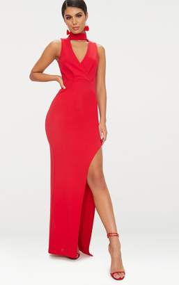PrettyLittleThing Red Wrap Over Cut Out Plunge Extreme Split Maxi Dress