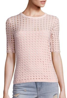 T by Alexander Wang Circular Hole Jacquard Short Sleeve Tee
