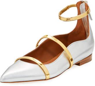 Malone Souliers Robyn Metallic Napa Ankle-Strap Flat