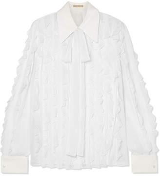 Michael Kors Pussy-bow Ruffled Silk-chiffon Blouse - White