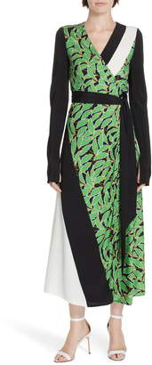 Diane von Furstenberg Maureen Leaf Print Silk Wrap Dress