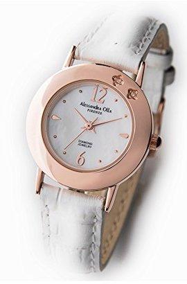 Alessandra Olla (アレッサンドラ オーラ) - [アレサンドラオーラ]Alessandra Olla 天然ダイヤ2石 3針クォーツレディース腕時計 ベルトカラー:ホワイト AO-6950WH