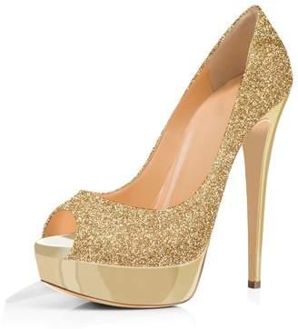 Joogo Women Peep Toe Pumps Platform Thin Heel Stiletto Sandals Wedding High Heels Slip On Dress Shoes Size 7