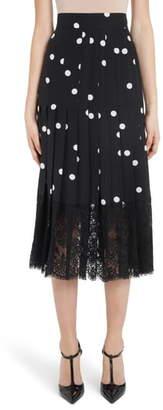 Dolce & Gabbana Lace Bottom Dot Print Midi Skirt