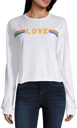 Fifth Sun Long Sleeve Crew Neck Graphic T-Shirt-Juniors