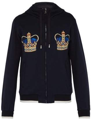 Dolce & Gabbana Crown Embroidered Cotton Hooded Sweatshirt - Mens - Navy