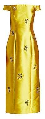 Erdem Women's Angelique Embellished Off-The-Shoulder Midi Gown