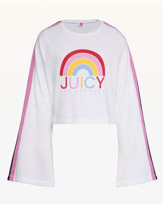 Juicy Couture JXJC Side Stripe Rainbow Logo Terry Pullover