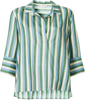 Lee Mathews Smithson stripe cropped sleeve shirt