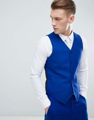 Asos DESIGN skinny suit vest in royal blue