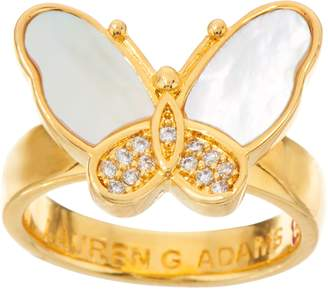 Mother of Pearl Lauren G. Adams Lauren G Adams Goldtone Mother-of-Pearl Butterfly Ring
