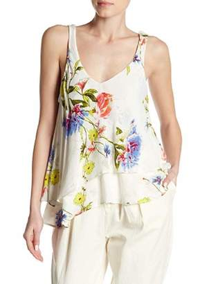 Free People Womens Crinkled Floral Cami Ivory M