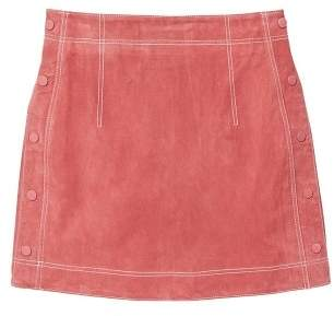 MANGO Stitch leather skirt
