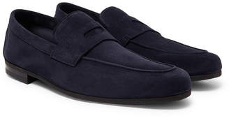 John Lobb Thorne Suede Penny Loafers - Men - Navy