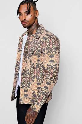 boohoo Baroque Print Denim Jacket