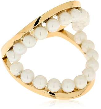 Delfina Delettrez Twins Hoop Knuckle Ring W/ Pearls