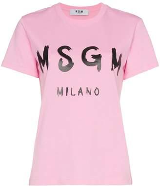 MSGM pink short sleeve logo tshirt