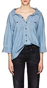 R 13 Women's Overlap Cotton Chambray Shirt-Blue
